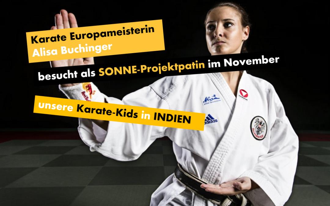 Karate Europameisterin Alisa Buchinger trainiert als SONNE-Projektpatin unsere Karate-Kids in Indien